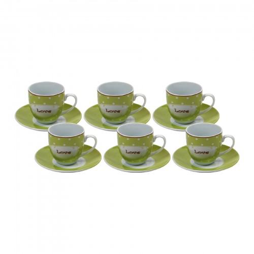 Jogo de xícaras de Chá Love Verde