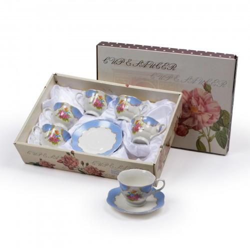 Jogo de xícaras de Chá Floral Azul