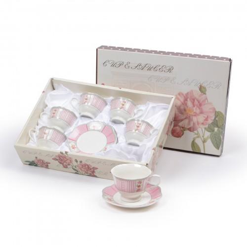 Jogo de xícaras de Chá Floral Rosa