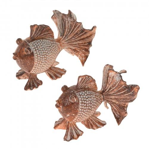 Conjunto com 02 esculturas Peixes