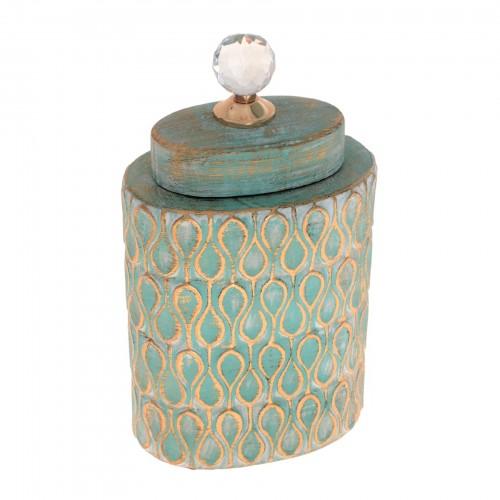 Potiche de cerâmica Verde e Dourado