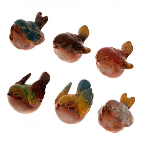 Conjunto 06 Pássaros de cerâmica