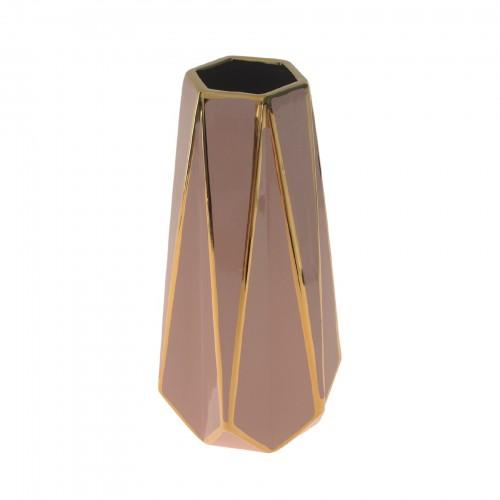 Vaso de cerâmica Rose e Dourado