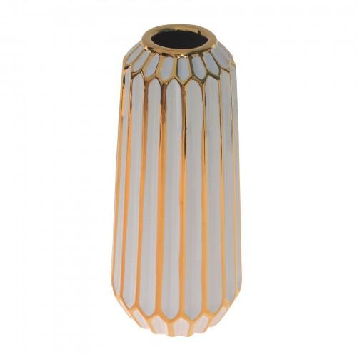 Vaso de cerâmica Branco e Dourado