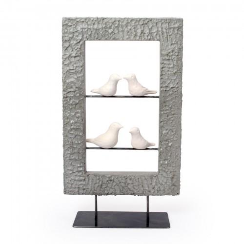 Escultura de Concreto com 4 pássaros