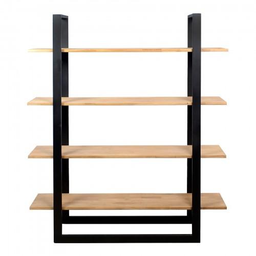 Estante de ferro com 04 prateleiras de madeira