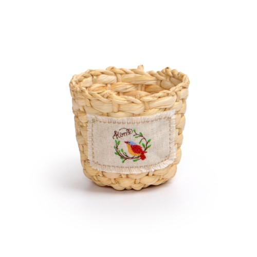 Cachepot de palha natural pequeno e aplique com Bordado