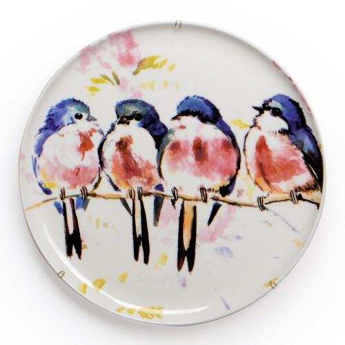 Prato de parede de porcelana Pássaros