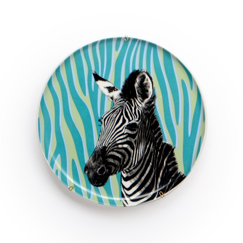 Prato de parede de porcelana Zebra