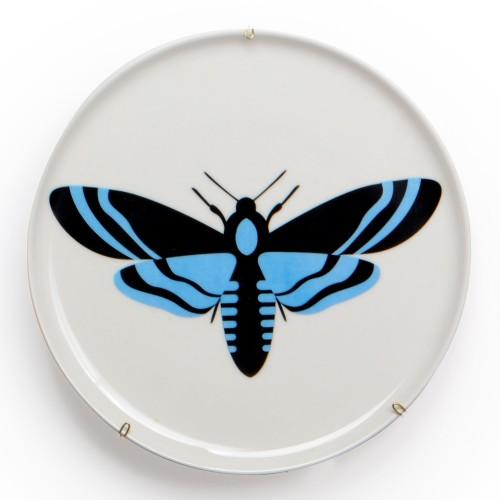 Prato de parede de porcelana Borboleta