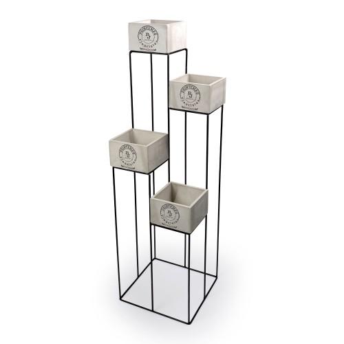 Conjunto com 4 vasos de Concreto com base de Ferro