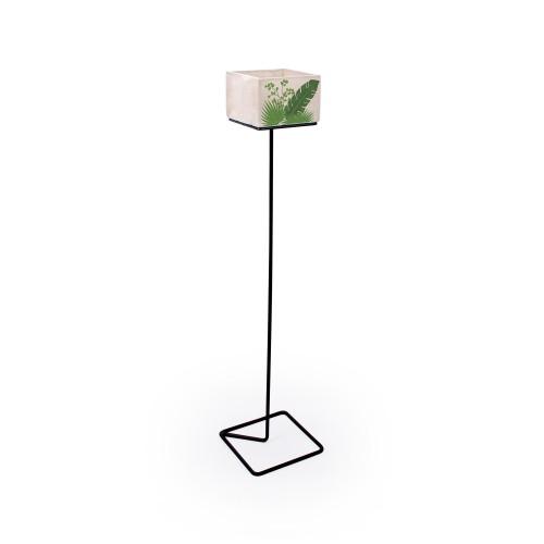Vaso grande de concreto Folhagens com base de Ferro