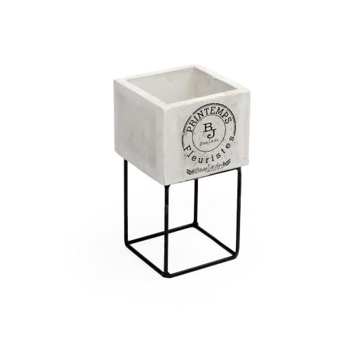 Vaso pequeno de concreto Carimbo com base de Ferro