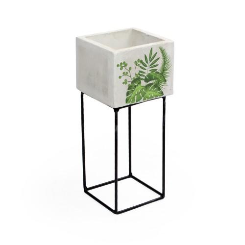 Vaso pequeno de concreto Folhagens com base de Ferro