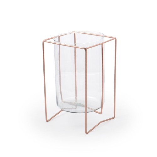 Vaso de vidro médio com suporte de Mesa