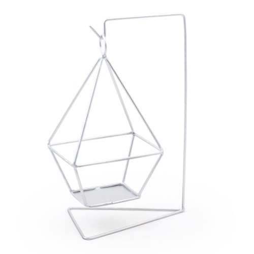 Vaso suspenso com base quadrada de ferro