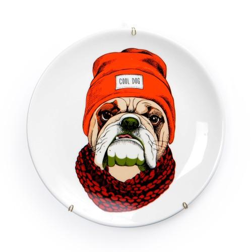 Prato de parede de porcelana Cachorro com Touca
