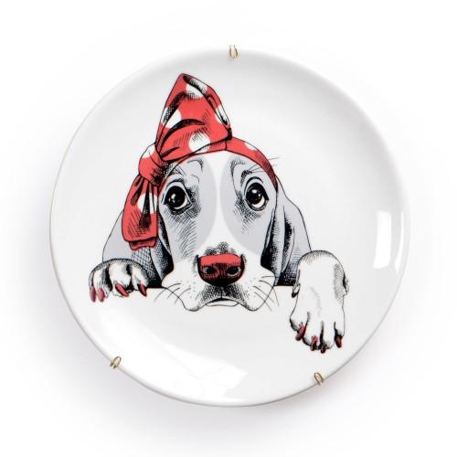 Prato de parede de porcelana Cachorro com Laço