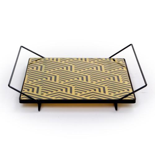Bandeja de ferro Quadrada com tampo de formas Geométricas