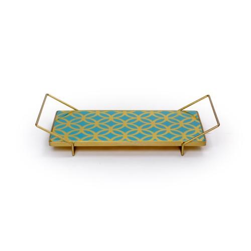 Bandeja de Ferro com tampo de formas Geométricas