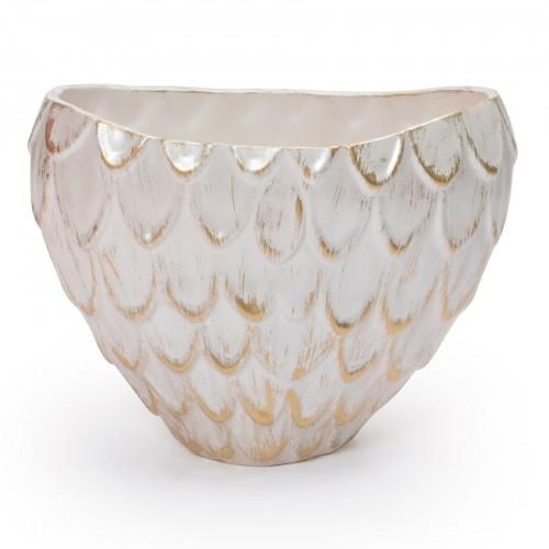 Vaso de cerâmica grande Branco e Dourado