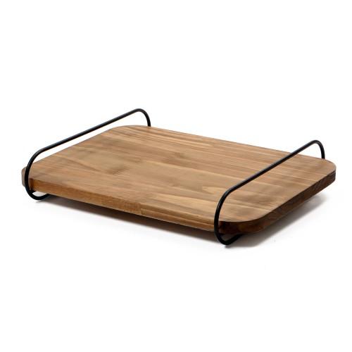 Bandeja de madeira com alça de ferro