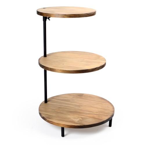Suporte de madeira redondo 3 andares