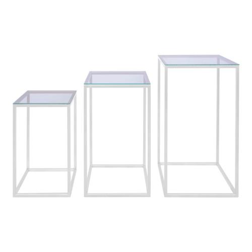 Conjunto 03 mesas quadradas Ferro Branco