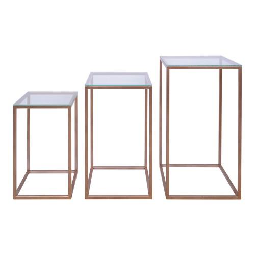 Conjunto de 03 mesas quadradas de ferro Rose Gold