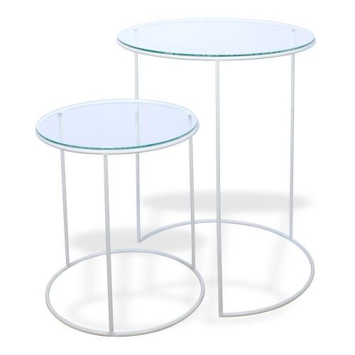 Conjunto de 02 mesas redondas Ferro Branco