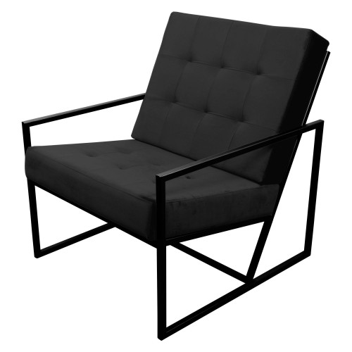 Poltrona de ferro preto com tecido preto