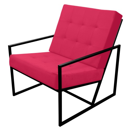 Poltrona de ferro preto com tecido rosa