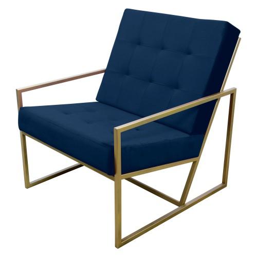 Poltrona de ferro dourado com tecido azul