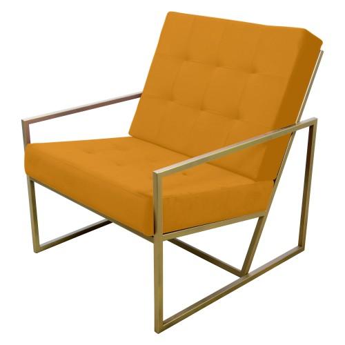 Poltrona de ferro dourado com tecido laranja