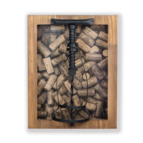 Caixa porta rolha de Madeira com detalhe em ferro