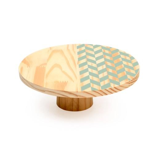 Boleira de madeira média Mosaico Verde