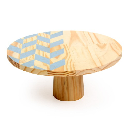 Boleira de madeira grande mosaico Azul