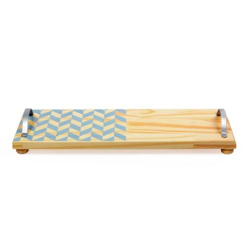 Bandeja de madeira com alça de ferro com mosaico Azul
