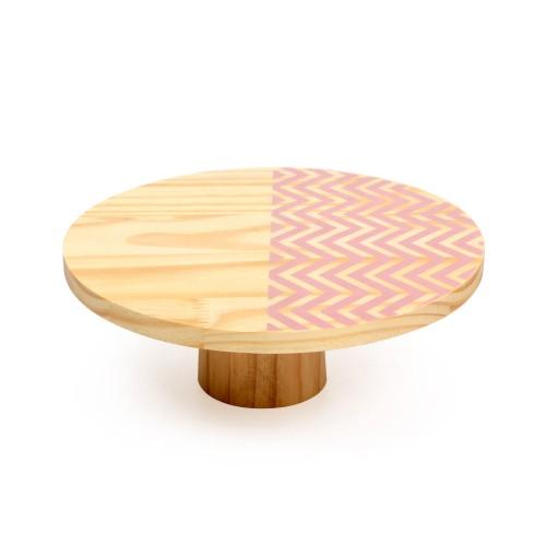 Boleira de madeira média Chevron Rosa
