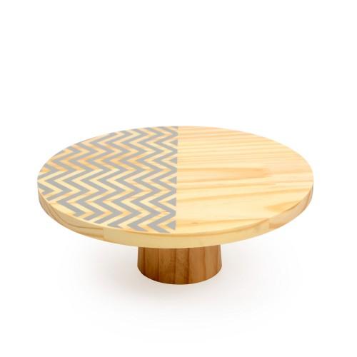 Boleira de madeira média Chevron Cinza