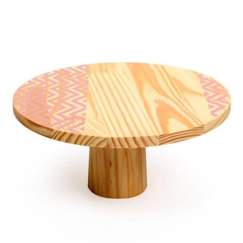 Boleira de madeira grande Chevron Rosa