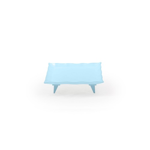 Travessa de vidro quadrada pequena azul
