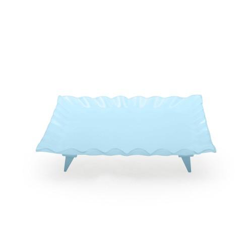 Travessa de vidro quadrada grande azul