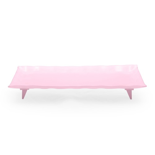 Travessa de vidro retangular grande rosa