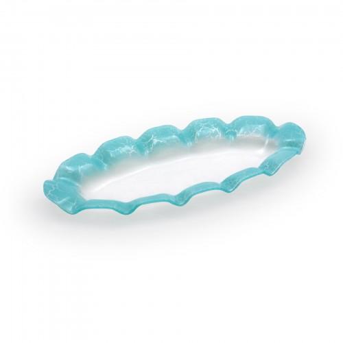 Travessa oval pequena de vidro Sollievo Azul