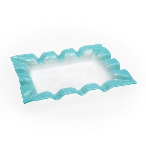 Travessa funda retangular de vidro Sollievo Azul