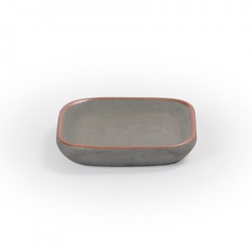 Bandeja quadrada de concreto com borda Cobre