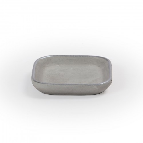 Bandeja quadrada de concreto com borda Prata