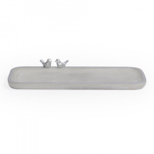 Bandeja retangular Ovalada de concreto com borda Prata e Pássaro