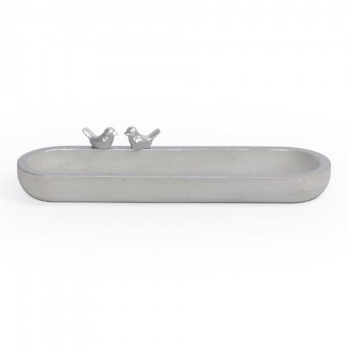 Bandeja oval de concreto com borda Prata e Pássaro